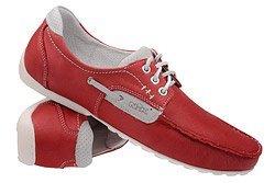 Mokasyny NIK 03-0359-003 Czerwone sznurowane