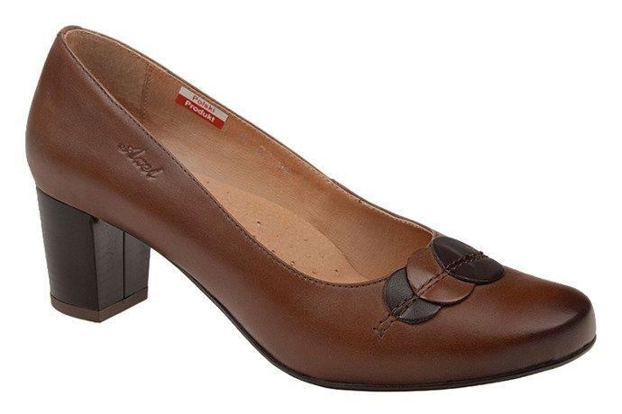 Czółenka na obcasie buty AXEL Comfort 1248 Brązowe