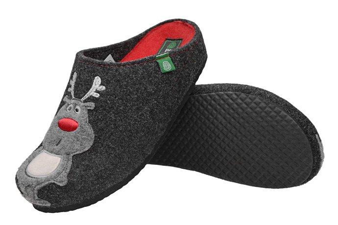 Kapcie Dr BRINKMANN 320540-9 Antracytowe Pantofle domowe Ciapy