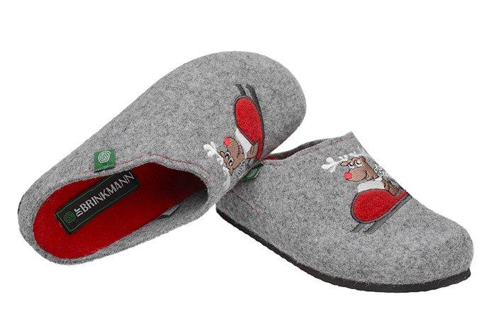 Kapcie Dr BRINKMANN 320541-91 Popielate Pantofle domowe Ciapy