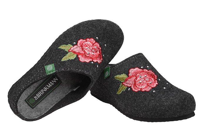 Kapcie Dr BRINKMANN 330161-9 Antracytowe Pantofle domowe Ciapy