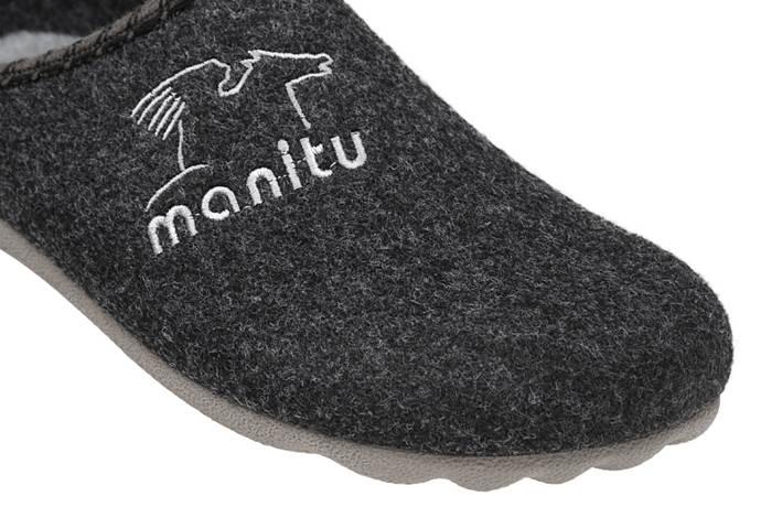 Kapcie MANITU 220247-9 Grafitowe Pantofle domowe Ciapy
