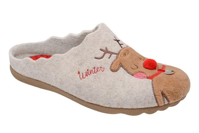 Kapcie MANITU 320568-8 Beżowe Pantofle domowe Ciapy
