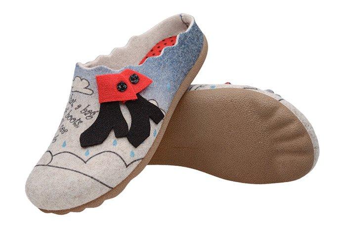 Kapcie MANITU 320570-8 Beżowe Pantofle domowe Ciapy