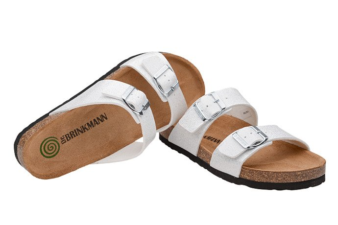 Klapki Dr Brinkmann 701178-3 Białe Brokat
