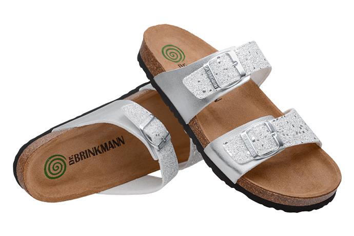 Klapki Dr Brinkmann 701256-92 Srebrne Brokat