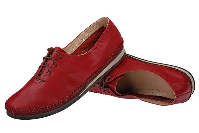 Mokasyny sznurowane buty SIMEN 6870 Bordowe