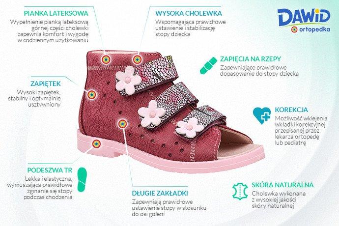 Sandałki Profilaktyczne Ortopedyczne Buty DAWID 1042 Bordowe BKP