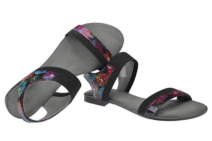 Sandały damskie VERONII 3996 Czarne Kwiaty