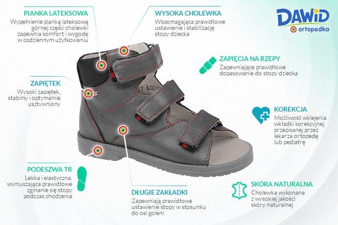 Trzewiki Profilaktyczne Ortopedyczne Buty DAWID 953-2 SZ Szary